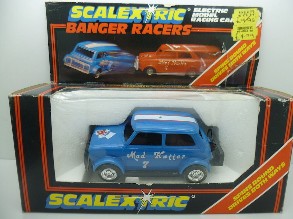 Scalextric C291 Mad Hatter in bluee, boxed mint car used couple of times