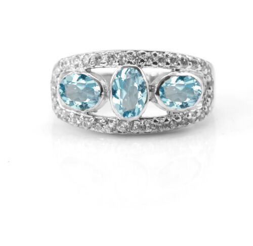 925 Sterling Silver Ring Natural Blue Topaz Cocktail Three Gemstones