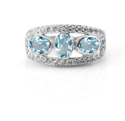 925 Sterling Silver Ring Naturel topaze bleue de cocktail trois pierres précieuses SZ 5-11