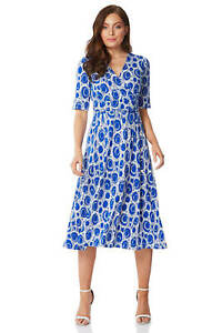 Roman-Originals-Short-Sleeve-Printed-Fit-and-Flare-Dress