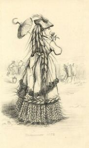 Albert A. Harcourt, Lady in Wheat Sheaf Dress – 19th-century graphite drawing