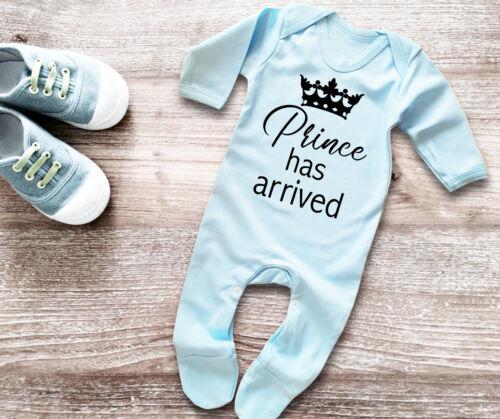 Prince has arrived baby blue rompersuit bodysuit baby grow sleepsuit babygrow