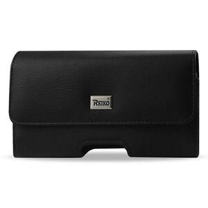 REIKO-Horizontal-Leather-Case-Pouch-Side-Clip-Belt-Loops-Two-Secret-Card-Pockets