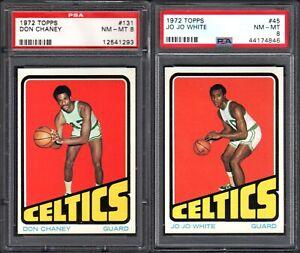 1972-73 TOPPS #45 JO JO WHITE BOSTON CELTICS PSA 8 NM-MT (2) CARD LOT