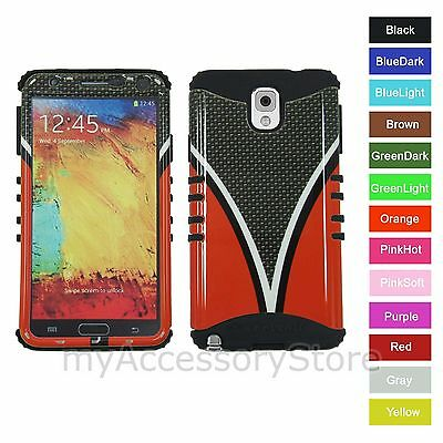 For Samsung Galaxy Note 3 III Red Carbon Fiber RKR Hard&Rubber Rugged Case Cover