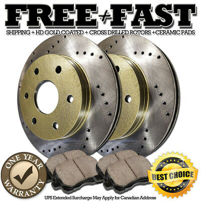 A0458 FIT 07 2008 2009 Cadillac SRX REAR CROSS DRILLED BRAKE ROTORS CERAMIC PADS