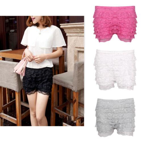 Damen Häkelspitze Mesh Spitze Schichten Miniskirt Shorts kurze Hose Freizeit