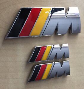 ///M Sport German Flag M Power Metal Set (2x Wings +1 x Boot Badge) BMW Quality
