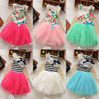 Baby Girls Kids Princess Floral Stripe Tulle Silk Ribbon Tutu Dress Bubble Skirt