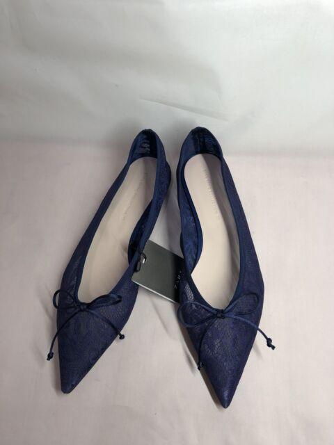 Zara Navy Blue Lace BALLERINAS Shoes