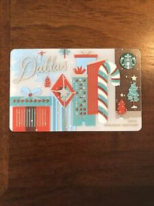 Starbucks Card 2016 DALLAS Christmas Holiday Greeting w//$0 bal NEW Rare MINT