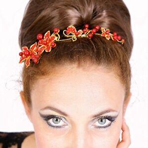 Tiara-Diadem-Blumen-Perlen-rot-Haarschmuck-Kopfschmuck-Braut-Strass-Hochzeit-NEU