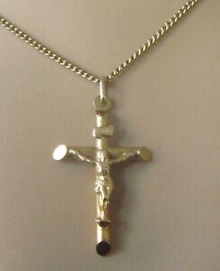 9ct Collar De Oro-Vintage 9ct Oro Amarillo Crucifijo Cruz Colgante & Cadena