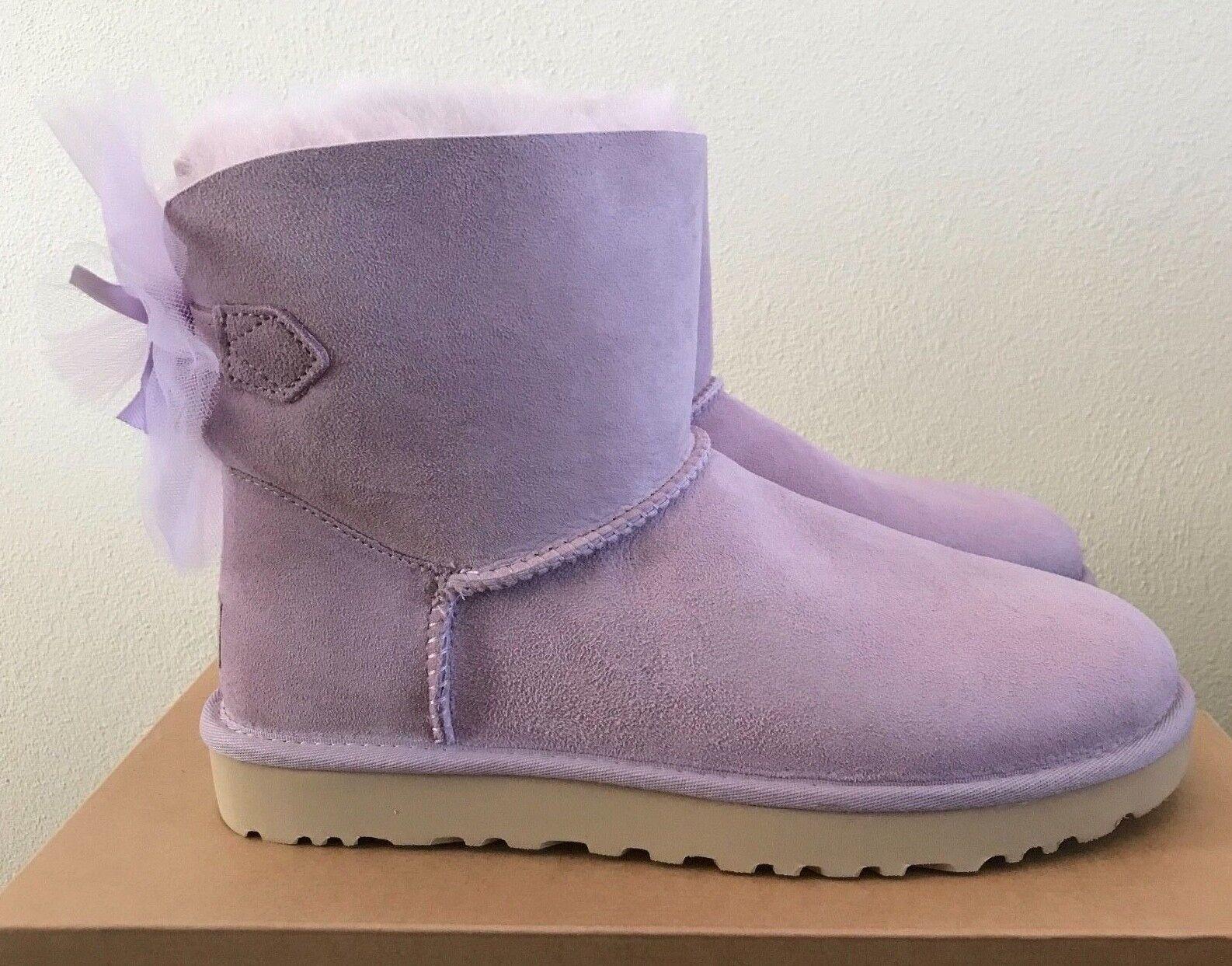 UGG Femmes Mini Bailey Tulle Bow Bottes - Bottes chaudes à la lavande - Taille 8 en peau de mouton