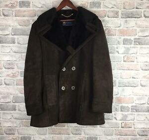 Mens-Suede-Leather-Faux-Fur-Lined-Coat-Size-Medium-By-Hornes-Of-London