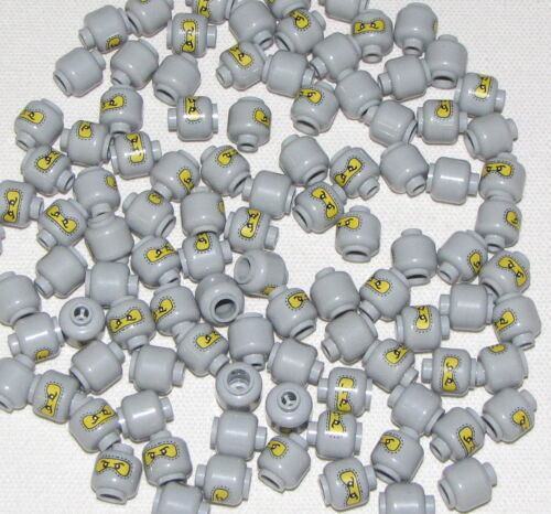 LEGO LOT OF 100 NEW LEGO MASKED MINIFIGURE HEAD GREY YELLOW RACE CAR DRIVER FACE