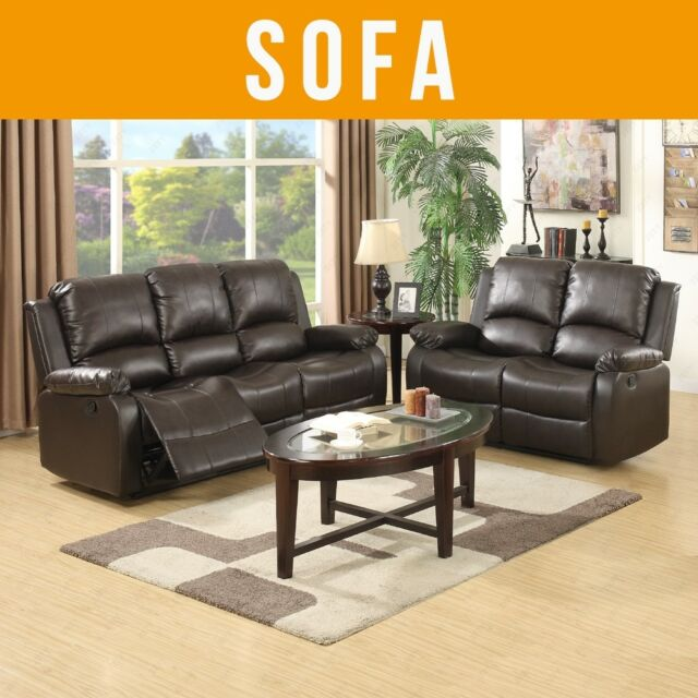 3 2 Seaters Sofa Set Loveseat Chaise Couch Recliner Leather Living Room Brown