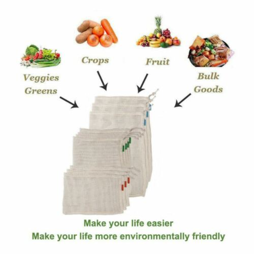 Reusable Cotton Mesh Produce Bags Natural Eco-friendly Reusable Fruit Vegetable