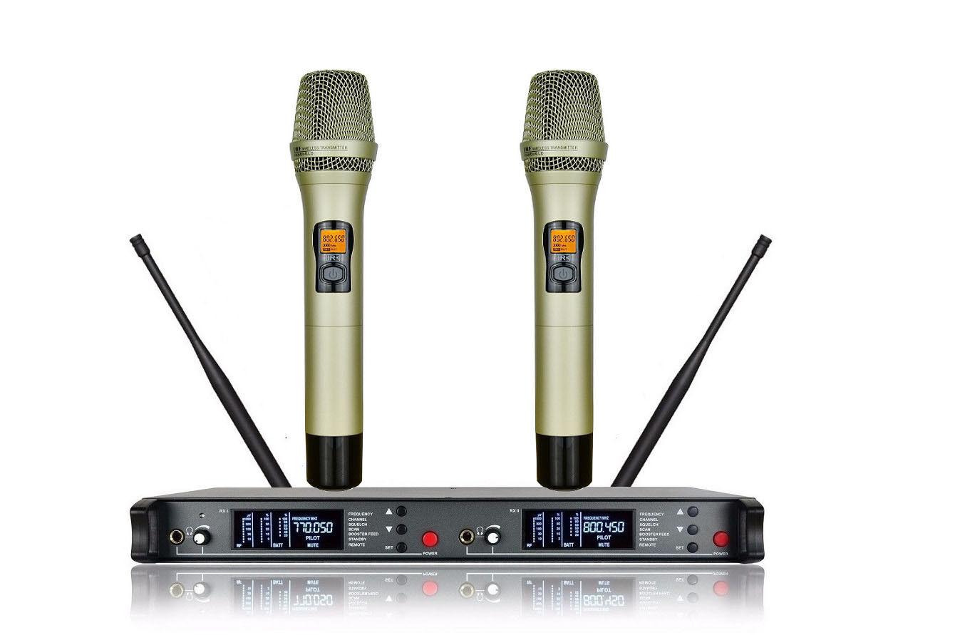 Pro Wireless Mikrofon UHF Professioneller Karaoke DJ Gesang 2 Golden Mics