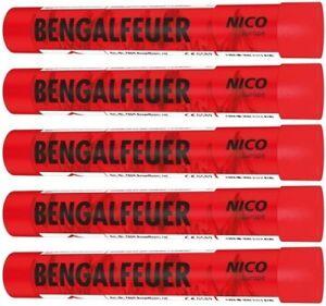 10 Stück Bengalfeuer Bengalfackel rot Nico Feuerwerk Bengalos Fussball Party