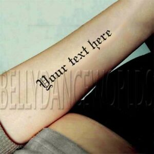 Details about SET OF 2 - Personalize your OWN custom temporary tattoo quote  or phrase 10 style