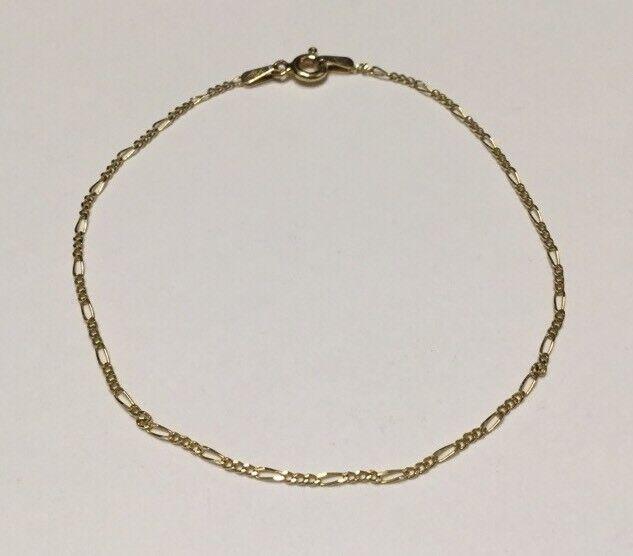 Sigma 18KT. Fine Yellow gold Figaro Chain Bracelet-