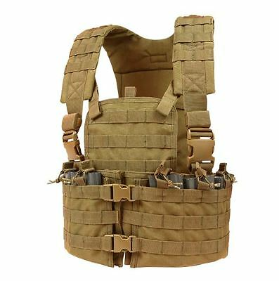 CONDOR MOLLE Nylon Chest Set Tactical Mag Holder Vest Rig cs COYOTE BROWN