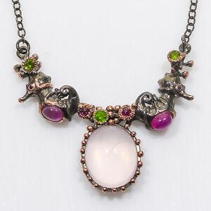 Necklace13ct-Natural-Cuarzo-Rosa-Plata-de-Ley-925