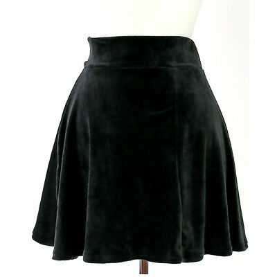 High Waist Urban Vintage Pleated Velvet Velour Soft Skater Flare Mini Skirt