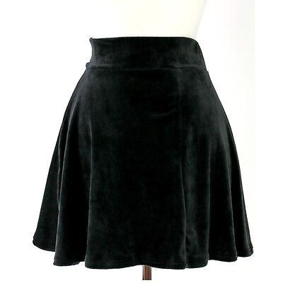 High Waist Urban Vintage Pleated Velvet Velour Soft Skater Flare Mini Skirt