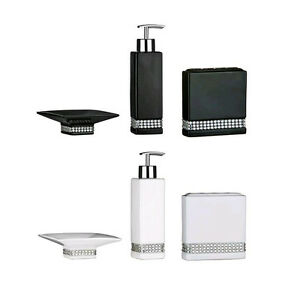 bathroom accessories set ceramic black amp white radiance - White Bathroom Accessories Ceramic