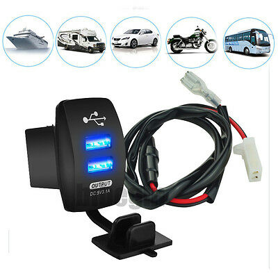 12V 3.1A Motorcycle Car Boat Dual USB Power Charger Port Socket Plug Blue LED