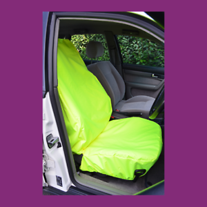 Front Car Van Fluorescent Yellow Waterproof LARGE Universal Airbag Seat Covers