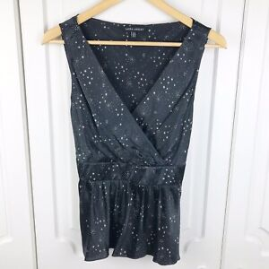 Laura-Ashley-Black-Pure-Silk-Star-Print-Wrap-Front-Tie-Back-Top-Size-16-BNWOT