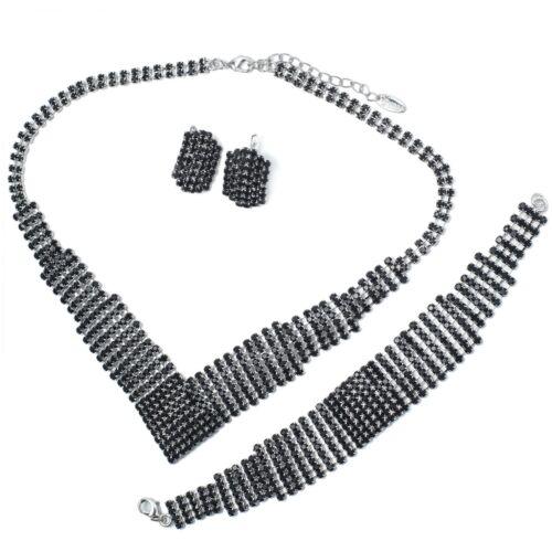 VF V34 8 Rows Black Austria Crystal Copper Alloy Earrings Bracelet Necklace Set