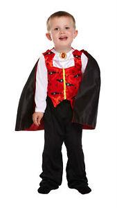 Halloween-Dracula-Vampiro-Nino-Disfraz-Edad-2-3-Anos-Antiguo-V00-989