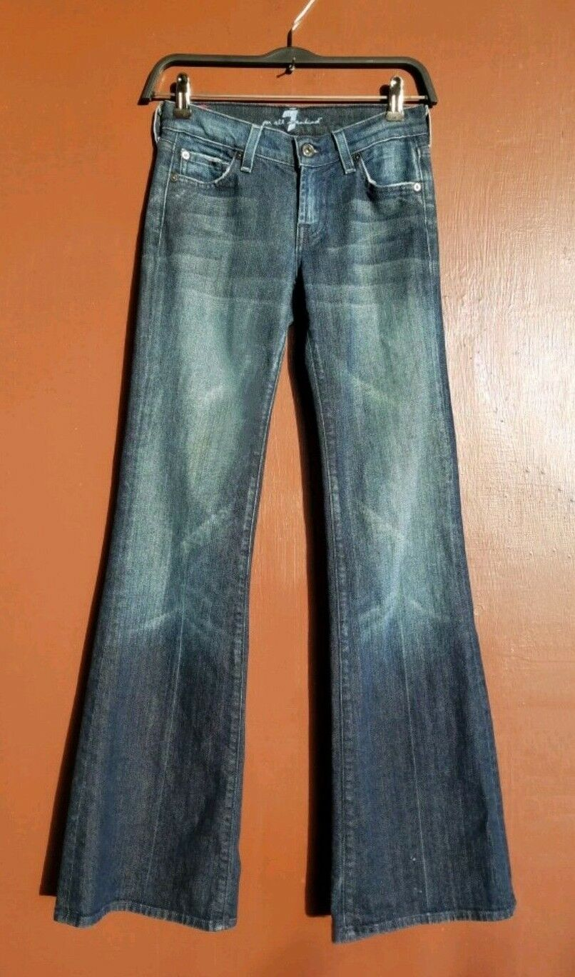 New 7 FOR ALL MANKIND Dark bluee Faded Flare  Leg Jeans Size 24