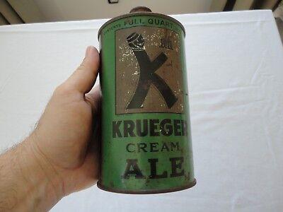 Antique Green Krueger Cream Ale Quart Cone Top Beer Can