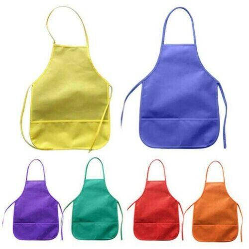 Kinder Fleece Stoff Taschen Schürze Küche Malerei DIY Kunst Klasse Deckel Sanwoo