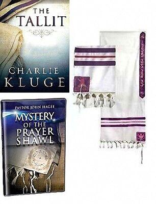 Realistico John Hagee Preghiera Scialle Tallit Pkg 24 X 72 Viola & Oro Strisce W/ Libro /