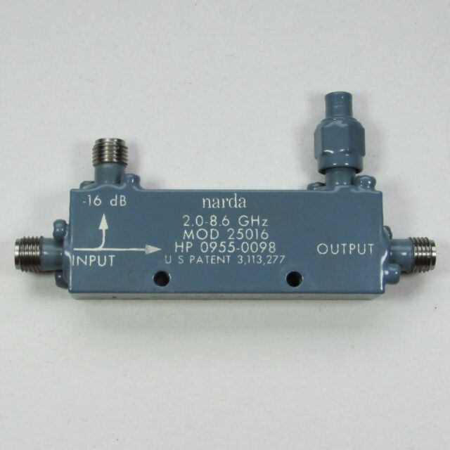 SMA Tested! 2 to 8.6 GHz,16 dB 0955-0098 Directional Coupler Narda 25016