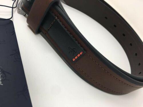 L//XL ORIGINALE PENGUIN Cintura in pelle-marrone con bordi Nero-S//M M//L
