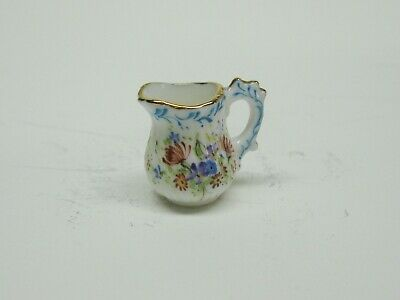 Tall Miniature Scalloped White Porcelain Pitcher DOLLHOUSE Miniatures 1:12