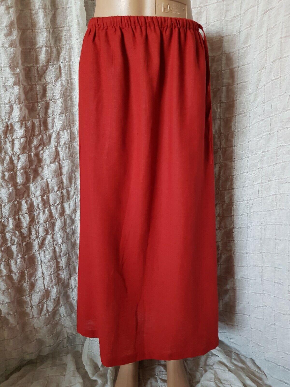 Gudrun Sjoden red viscose flax maxi skirt size S, BNWT