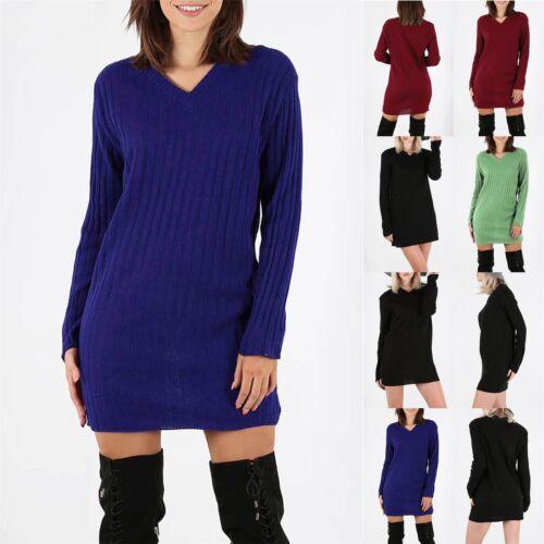Ladies Jumper Baggy oversize Collo v Maglieria A Coste Manica COMPLETA Mini Abito Pullover