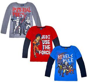 Garcons-Star-Wars-Top-Pull-a-Manches-Longues-Enfants-Coton-T-Shirt-Age-6-8-10-12-ans