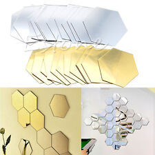 12Pcs 3D Mirror Hexagon Vinyl Removable Wall Sticker Decal Home Decor Art DIY