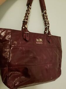 375abc7beee0 Image is loading COACH-Madison-Tribeca-East-West-purple-Patent-Leather-