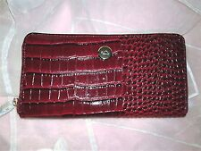 Women Italian Carpisa Red & Black Alligator Leather  Zip Around Wallet