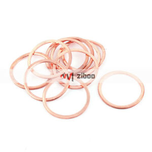 10 Pcs 36 mm x 30 mm x 2mm Flat Ring Copper Crush Washer Sealing Gasket Fastener